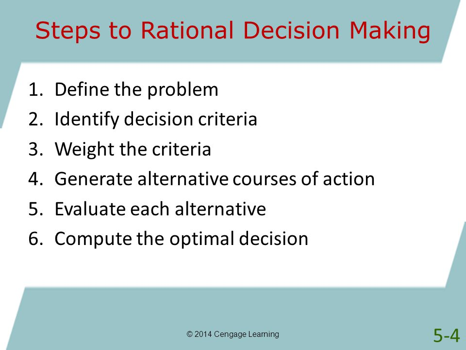 Steps of the decision making process in the cjs