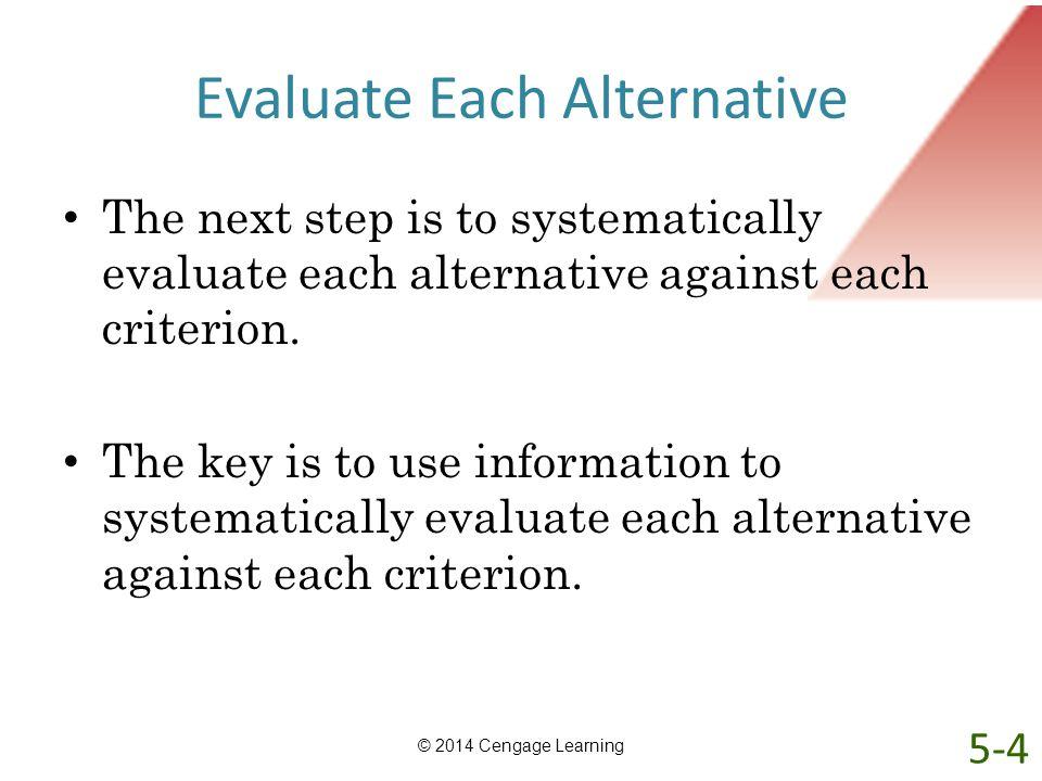 Evaluate Each Alternative
