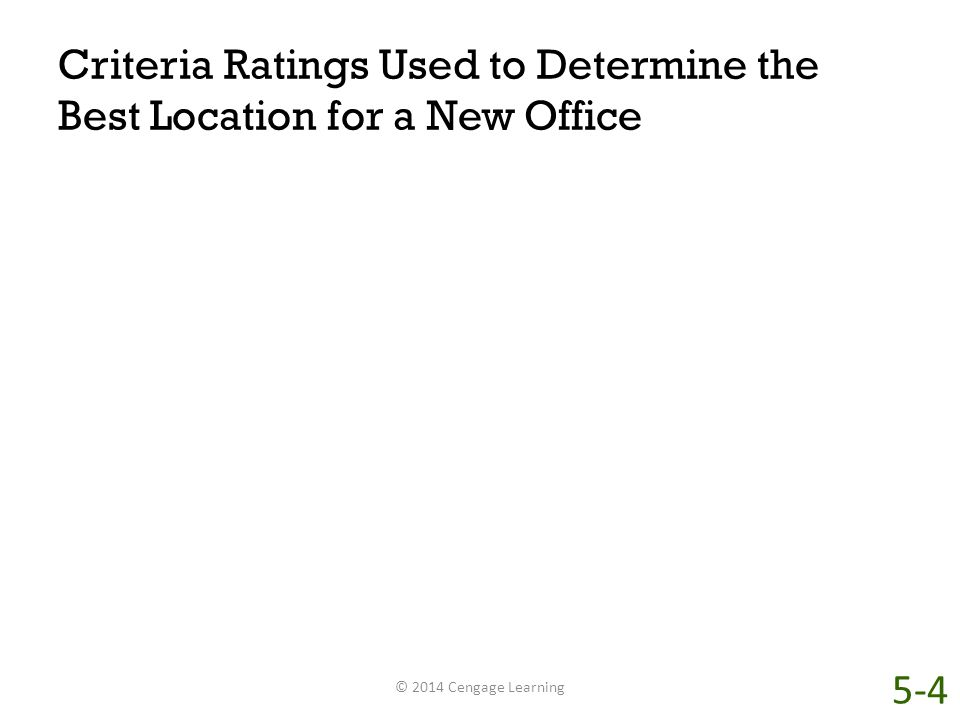 Criteria Ratings Used to Determine the Best Location for a New Office