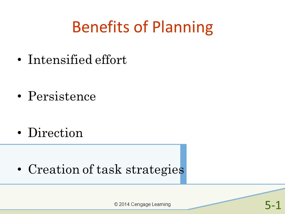 Benefits of Planning Intensified effort Persistence Direction
