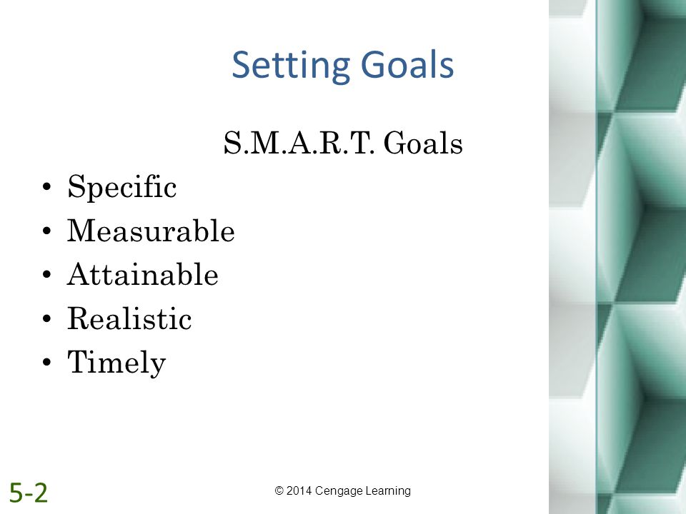 Setting Goals S.M.A.R.T. Goals Specific Measurable Attainable
