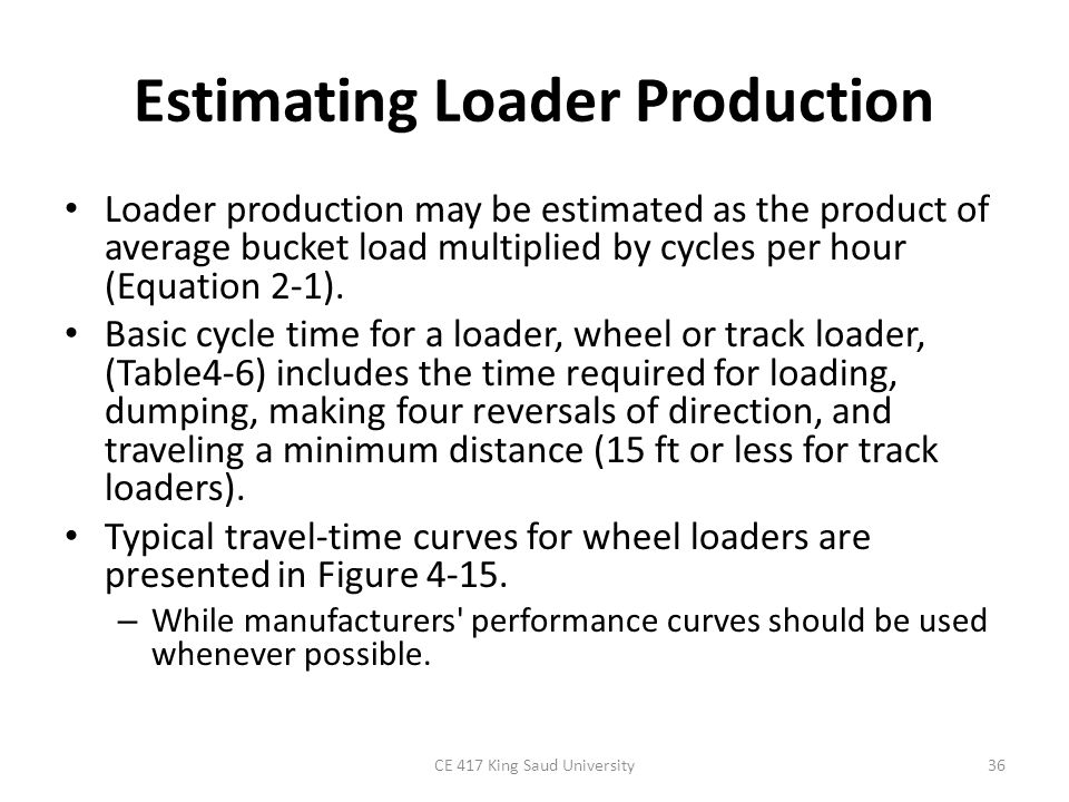 Estimating Loader Production