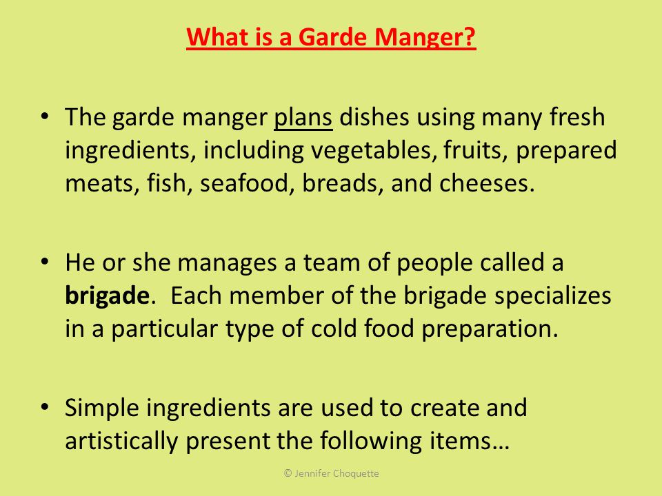 What is a Garde Manger