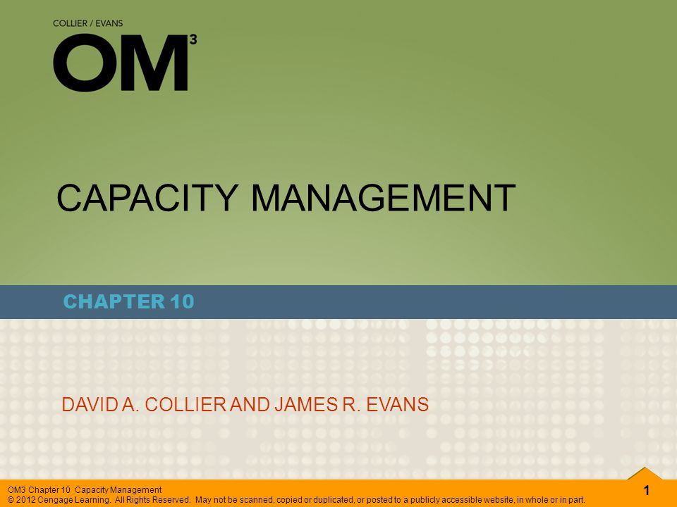 CAPACITY MANAGEMENT CHAPTER 10 DAVID A. COLLIER AND JAMES R. EVANS