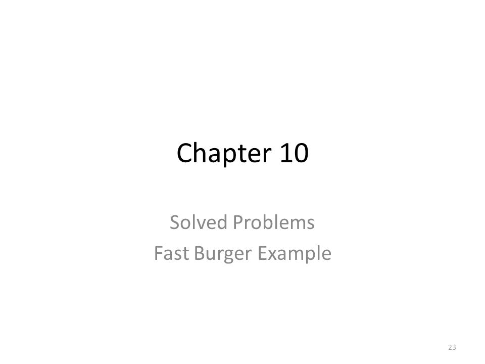 Solved Problems Fast Burger Example