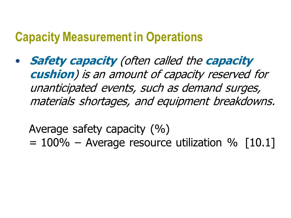 Capacity Measurement in Operations