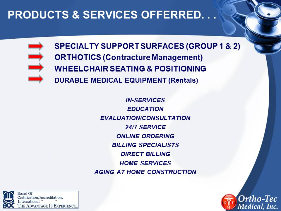 PRODUCTS & SERVICES OFFERRED. . .