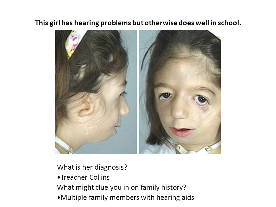 This girl has hearing problems but otherwise does well in school.
