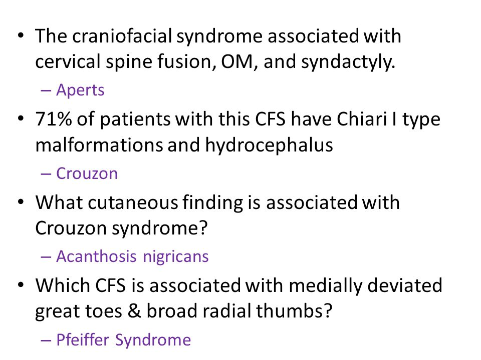 What cutaneous finding is associated with Crouzon syndrome