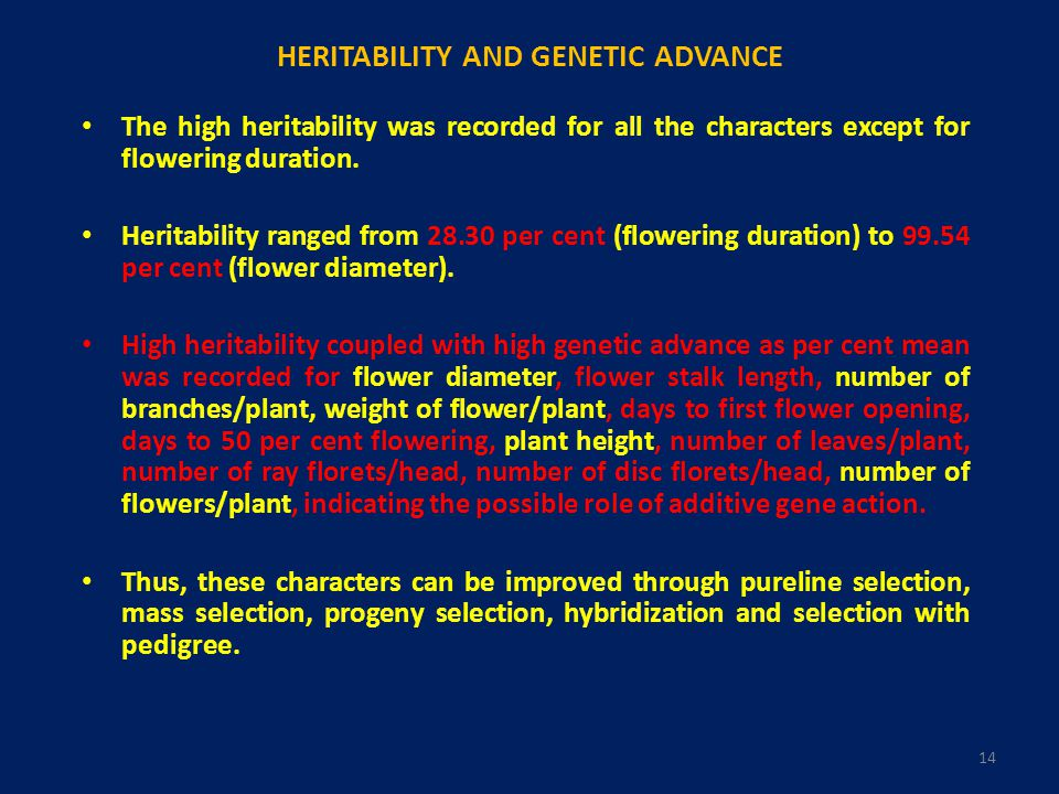 HERITABILITY AND GENETIC ADVANCE