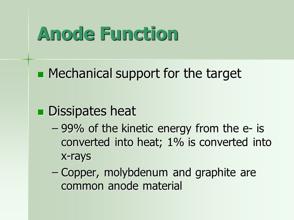 Anode Function Mechanical support for the target Dissipates heat