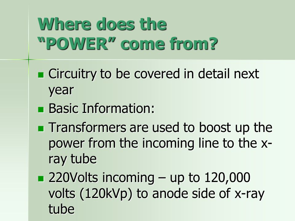 Where does the POWER come from