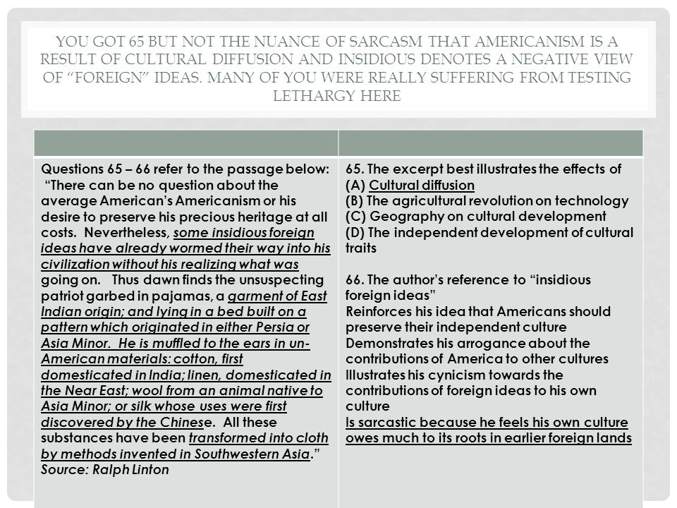 You got 65 but not the nuance of sarcasm that Americanism is a result of cultural diffusion and Insidious denotes a negative view of foreign ideas. Many of you were really suffering from testing lethargy here