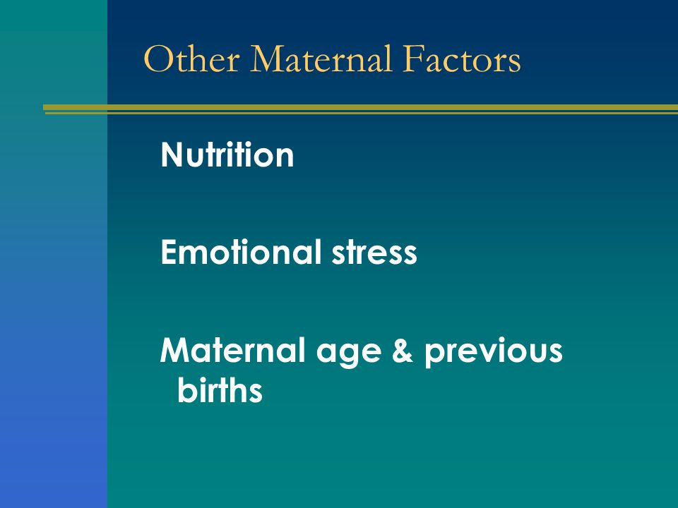 Other Maternal Factors