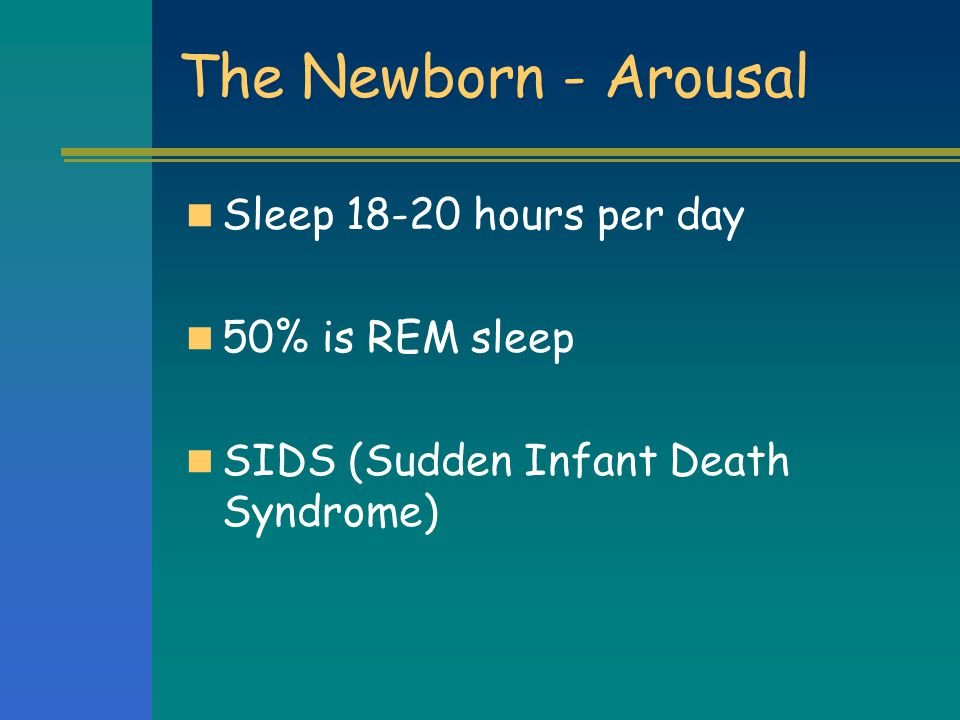 The Newborn - Arousal Sleep 18-20 hours per day 50% is REM sleep