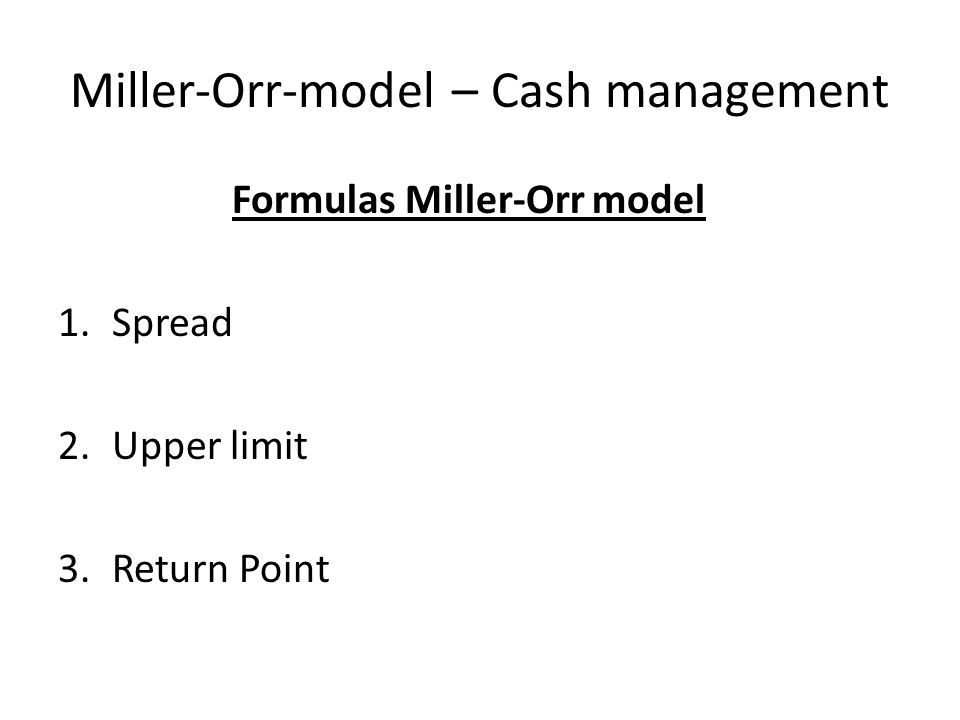 Miller-Orr-model – Cash management