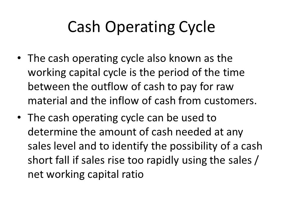 Cash Operating Cycle