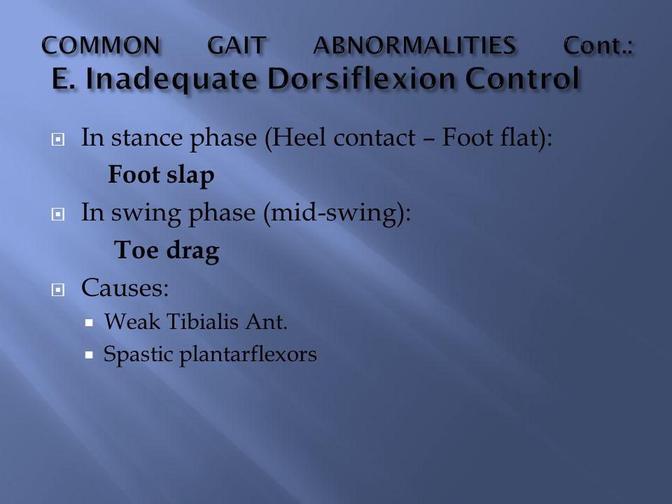 COMMON GAIT ABNORMALITIES Cont.: E. Inadequate Dorsiflexion Control
