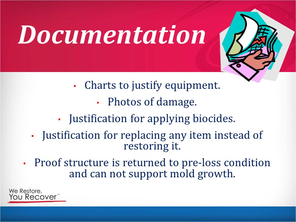 Documentation Charts to justify equipment. Photos of damage.