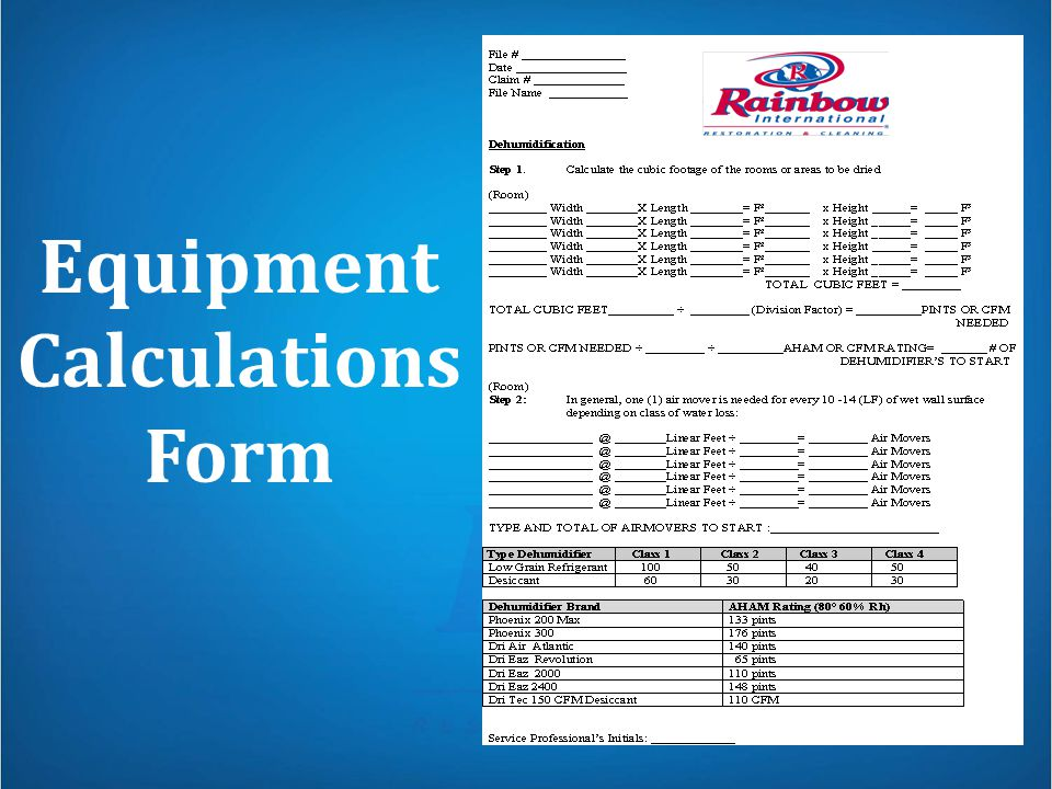 Equipment Calculations Form