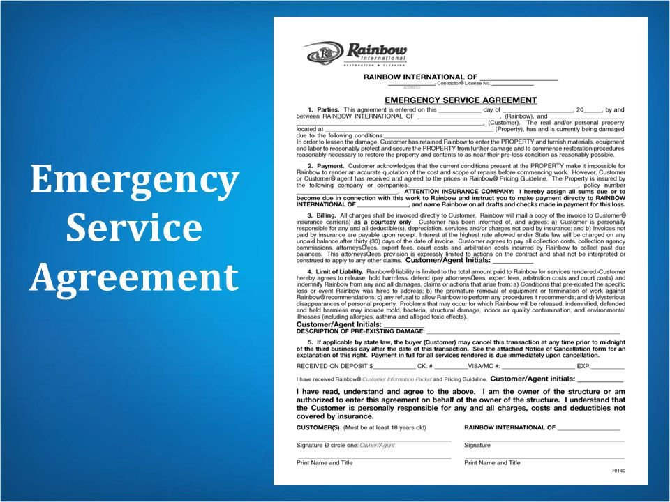 Emergency Service Agreement