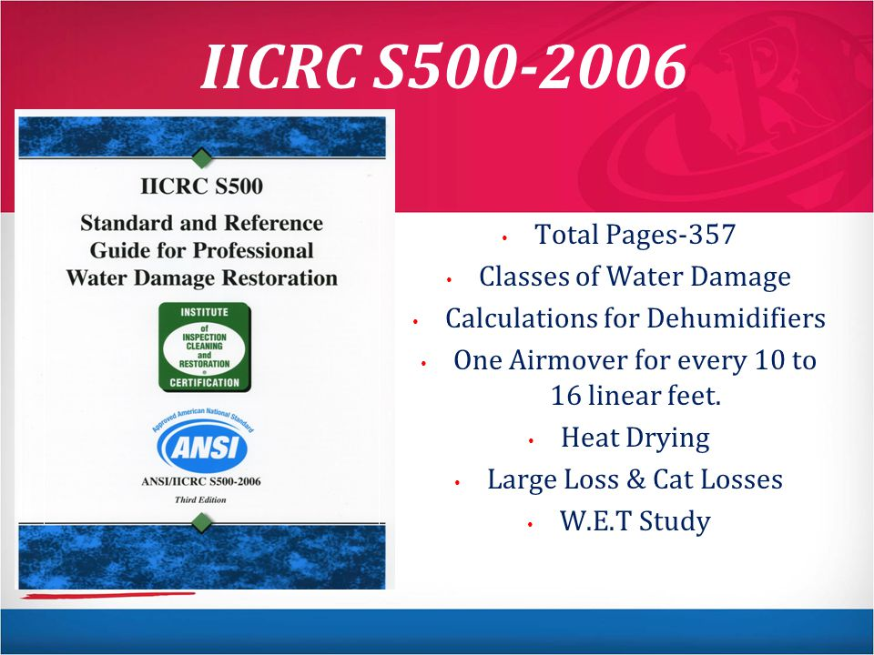 IICRC S500-2006 Total Pages-357 Classes of Water Damage