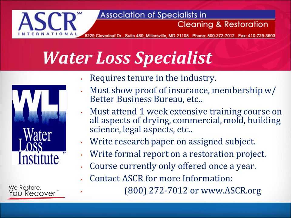 Water Loss Specialist Requires tenure in the industry.