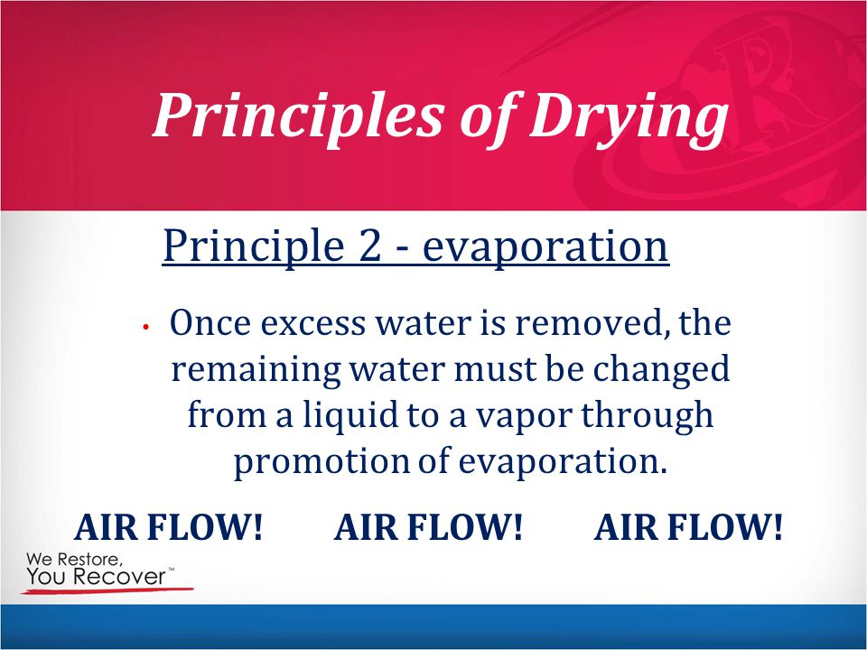 Principle 2 - evaporation