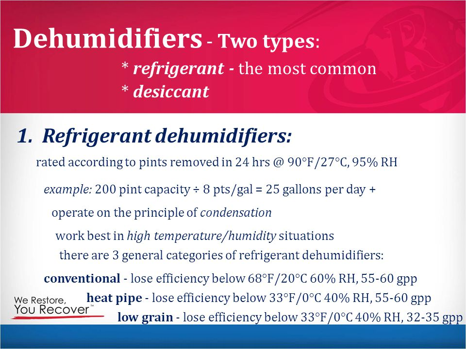 Dehumidifiers - Two types: