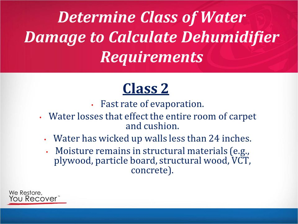 Determine Class of Water Damage to Calculate Dehumidifier Requirements