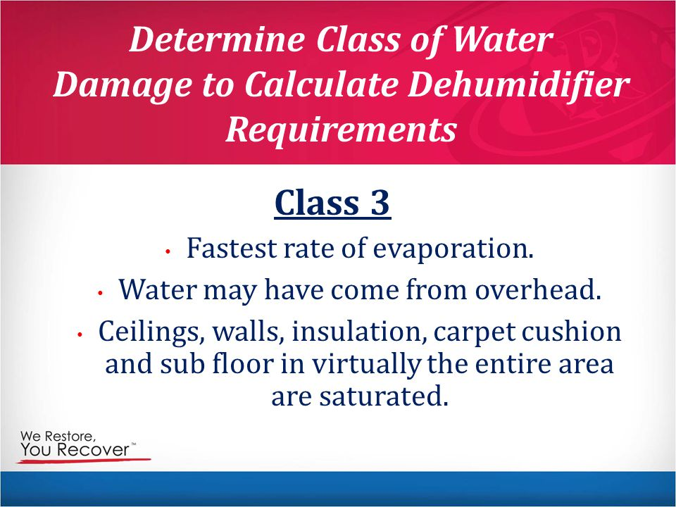 Determine Class of Water Damage to Calculate Dehumidifier