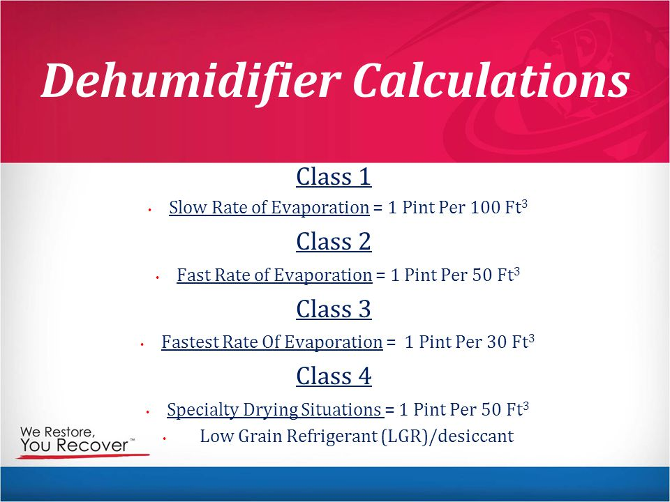 Dehumidifier Calculations