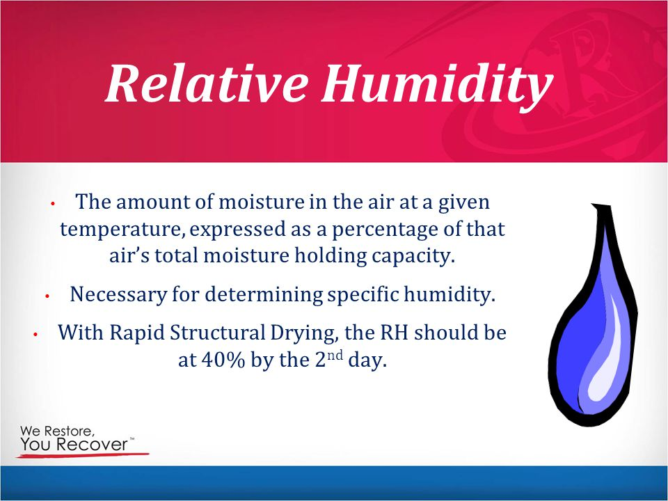 Relative Humidity The amount of moisture in the air at a given temperature, expressed as a percentage of that air's total moisture holding capacity.
