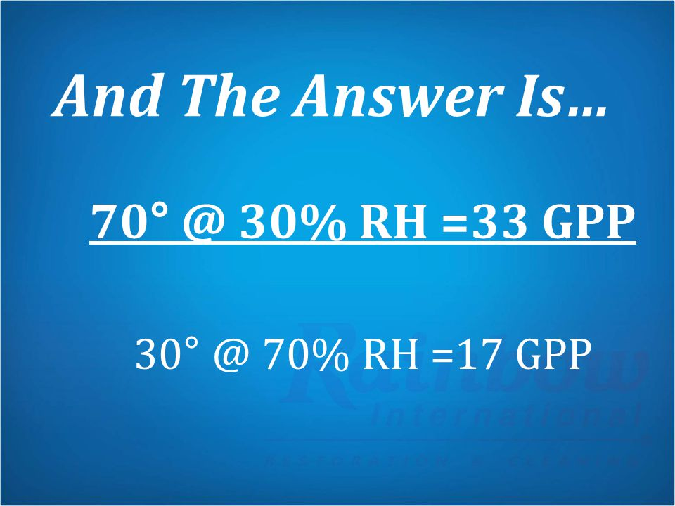 And The Answer Is… 70° @ 30% RH =33 GPP 30° @ 70% RH =17 GPP