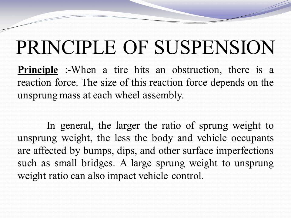 PRINCIPLE OF SUSPENSION