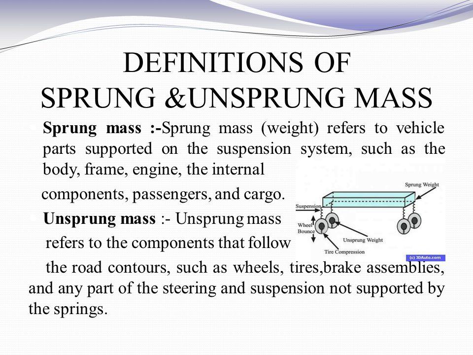 DEFINITIONS OF SPRUNG &UNSPRUNG MASS