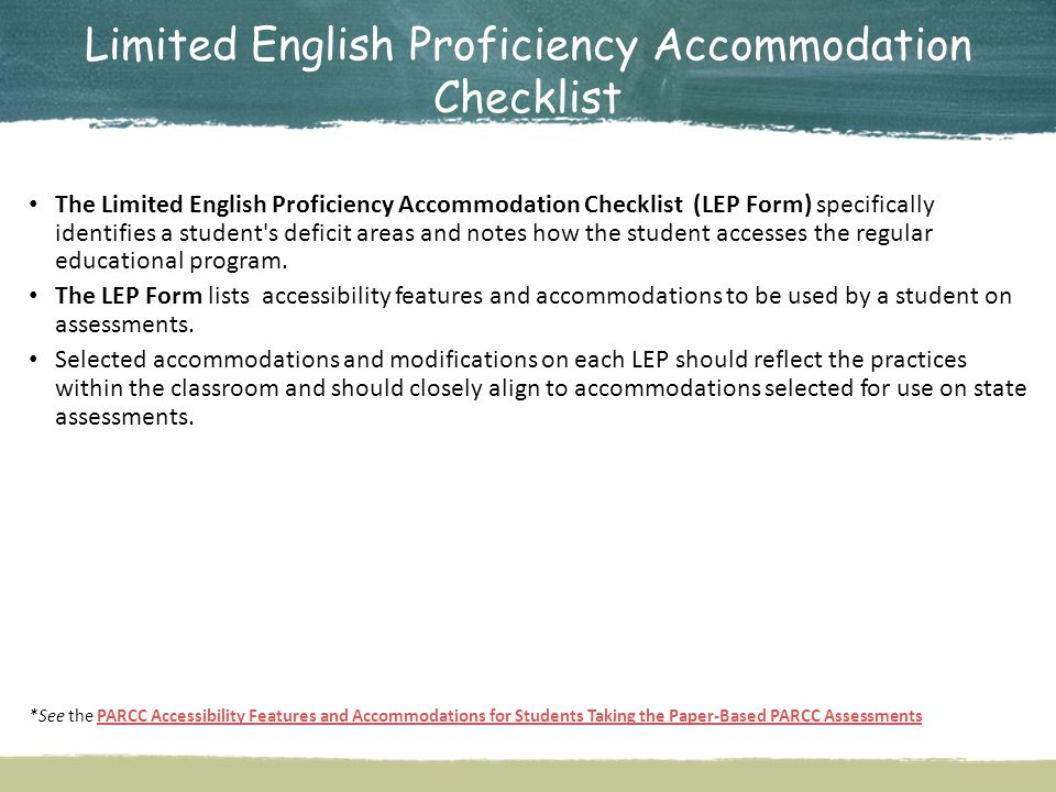 Limited English Proficiency Accommodation Checklist