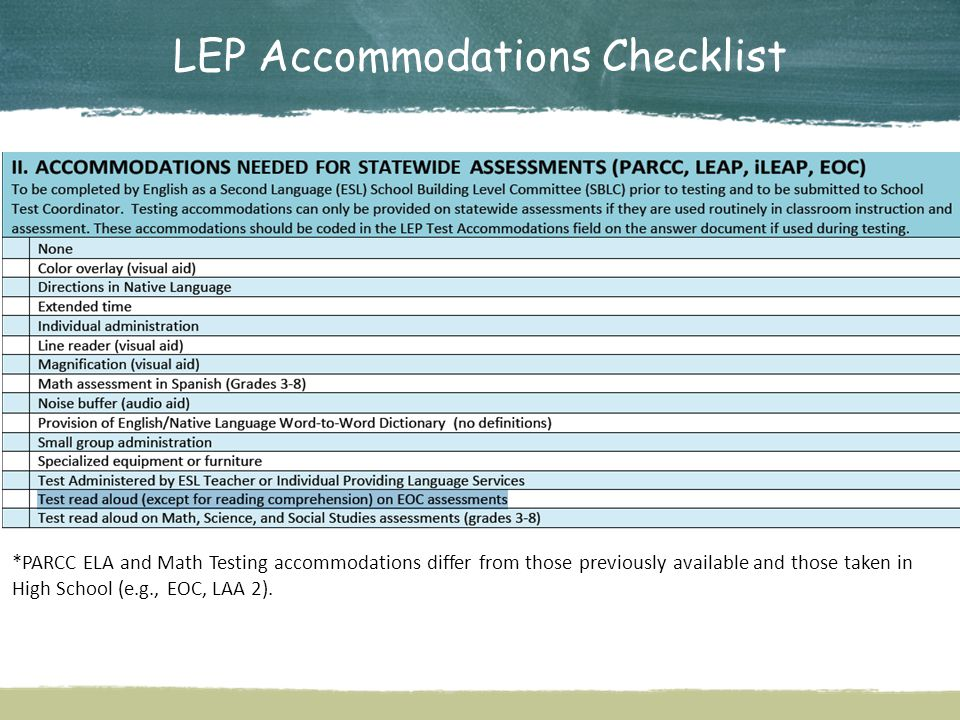 LEP Accommodations Checklist