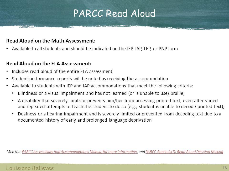 PARCC Read Aloud Read Aloud on the Math Assessment: