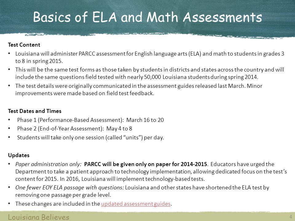 Basics of ELA and Math Assessments