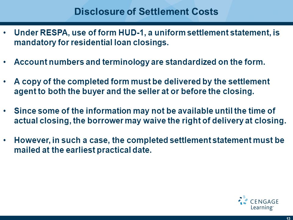 Disclosure of Settlement Costs