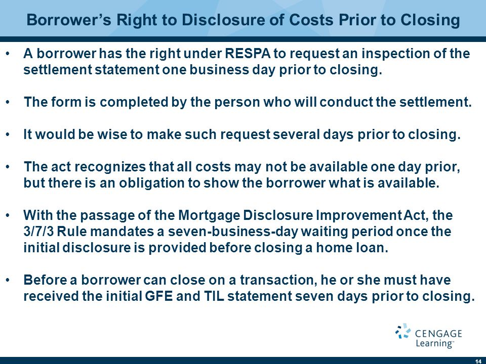 Borrower's Right to Disclosure of Costs Prior to Closing
