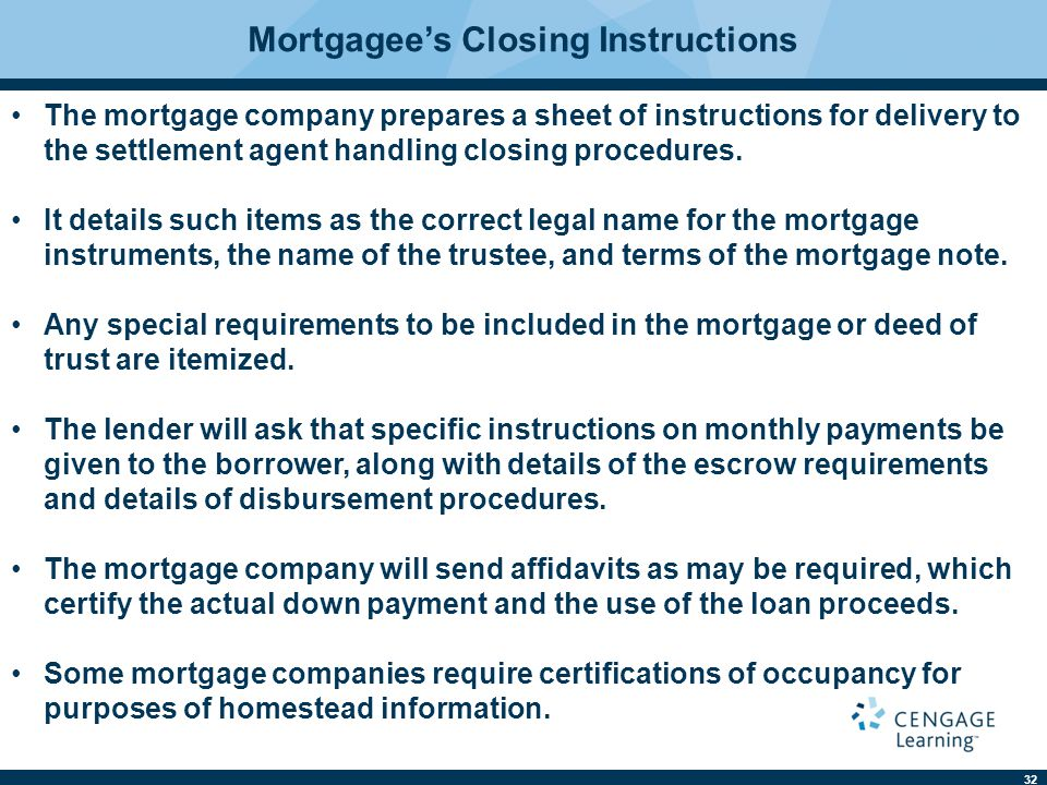 Mortgagee's Closing Instructions