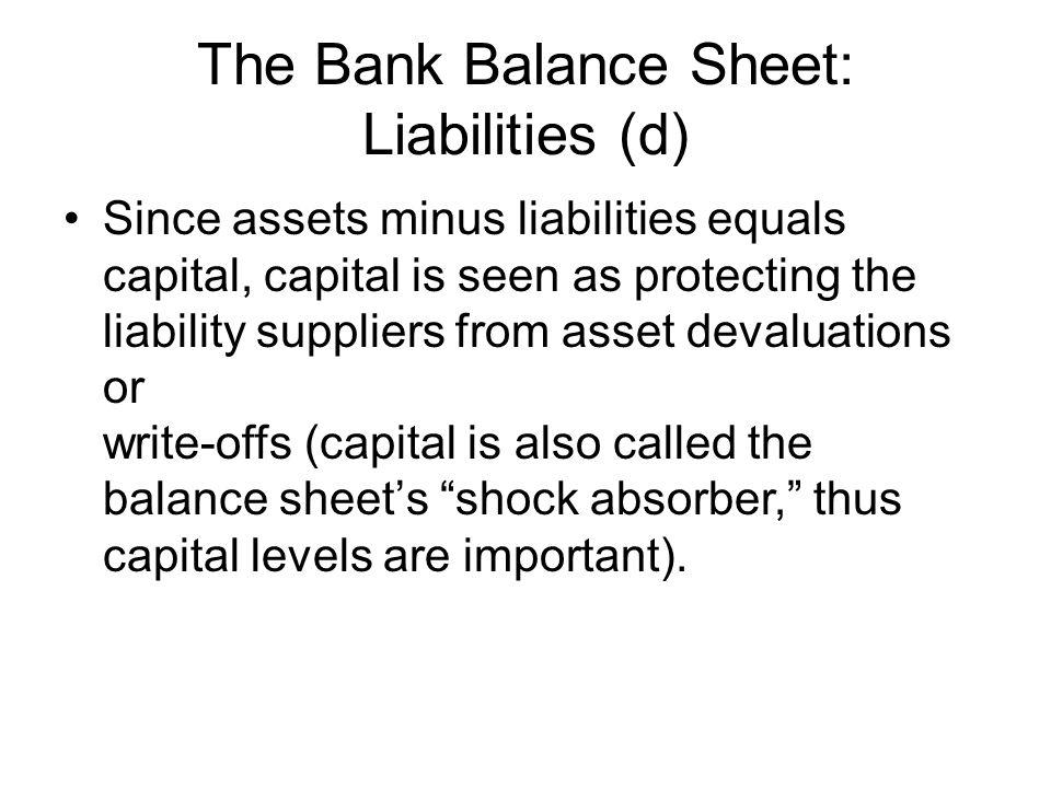 The Bank Balance Sheet: Liabilities (d)