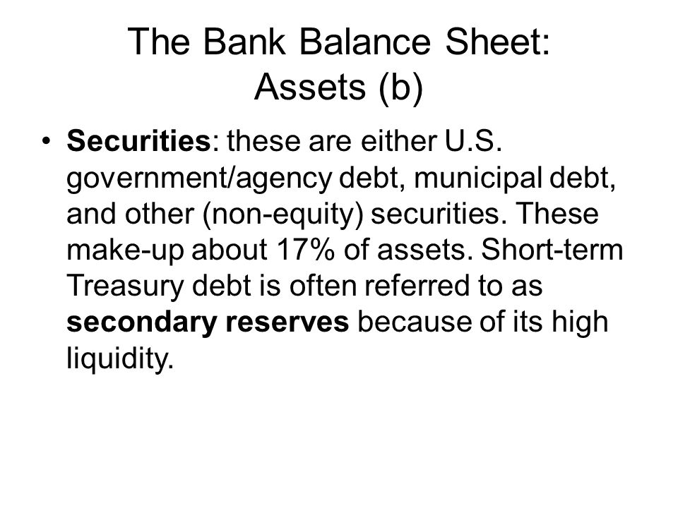 The Bank Balance Sheet: Assets (b)