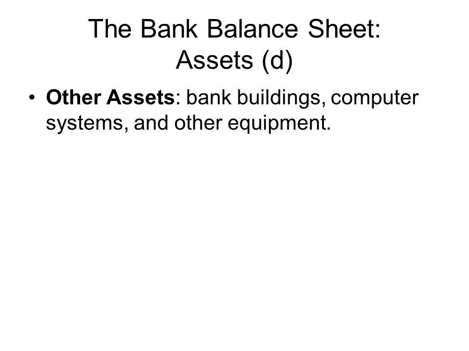 The Bank Balance Sheet: Assets (d)