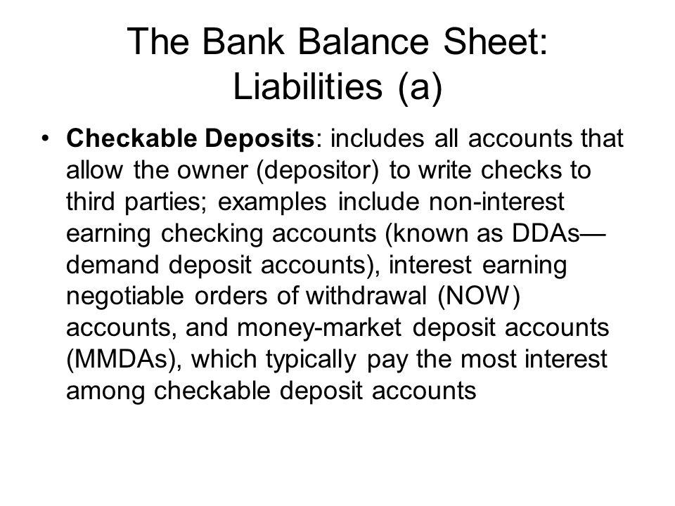 The Bank Balance Sheet: Liabilities (a)