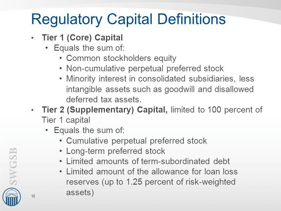 Regulatory Capital Definitions