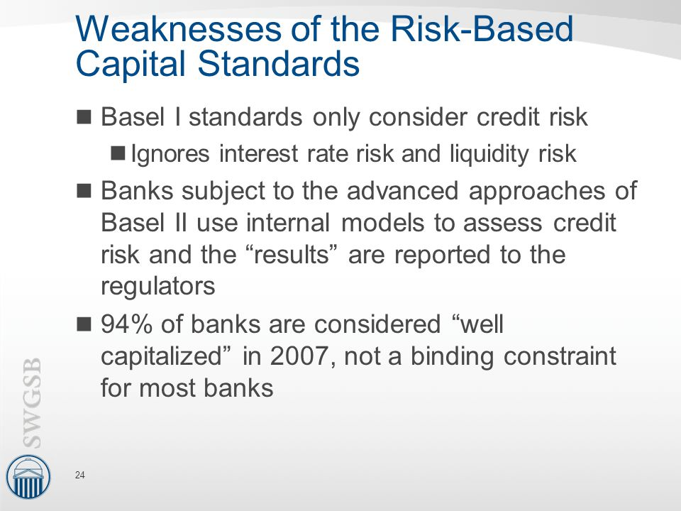 Weaknesses of the Risk-Based Capital Standards