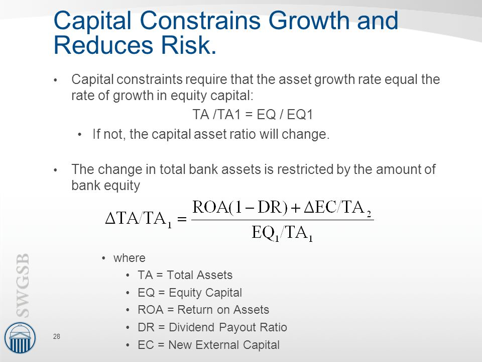 Capital Constrains Growth and Reduces Risk.